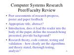 computer systems research peer faculty review