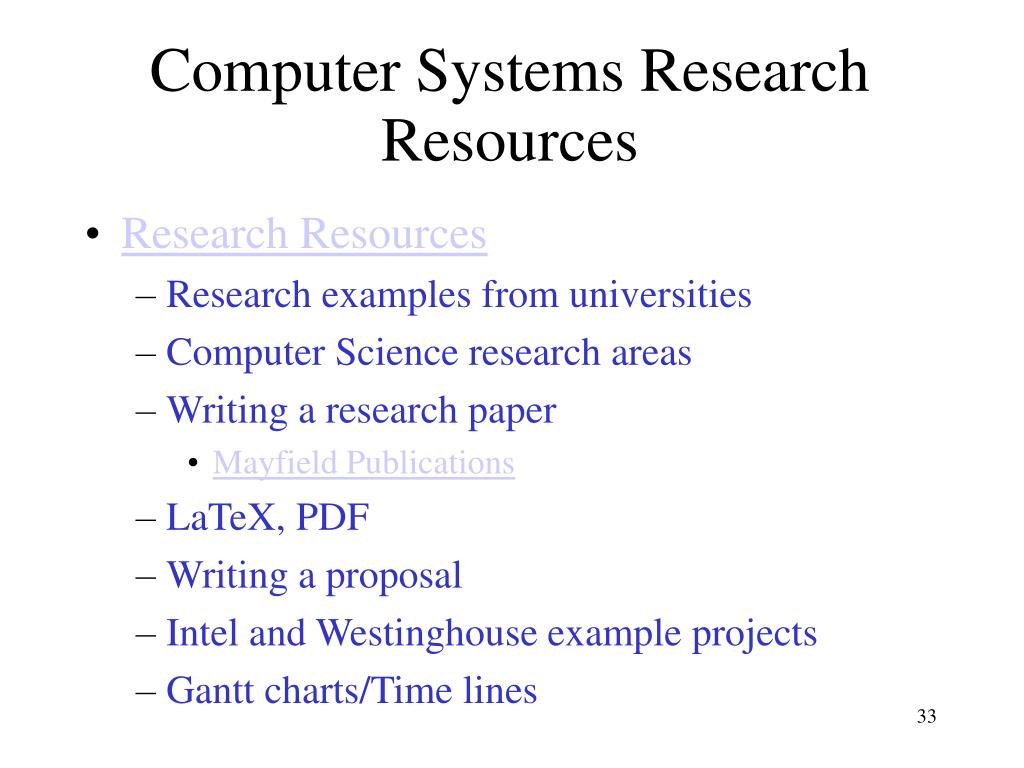 Computer Systems Research Resources