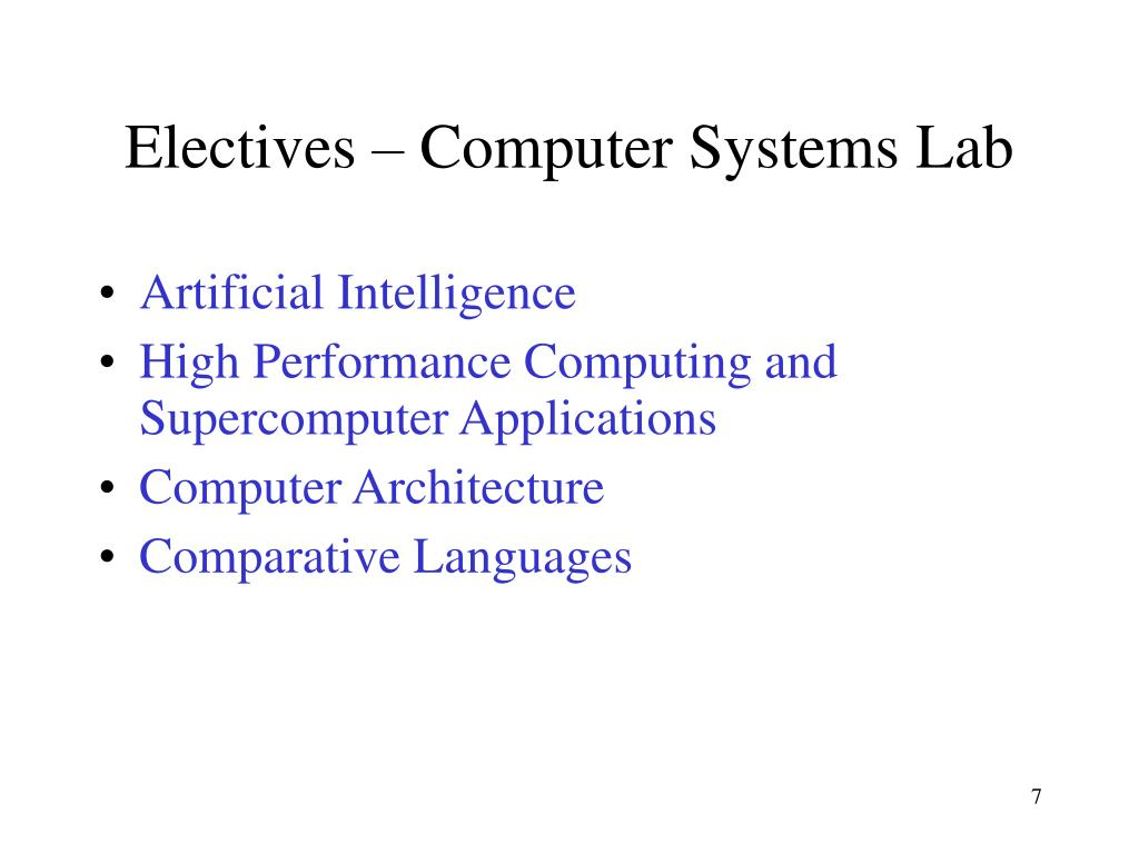Electives – Computer Systems Lab