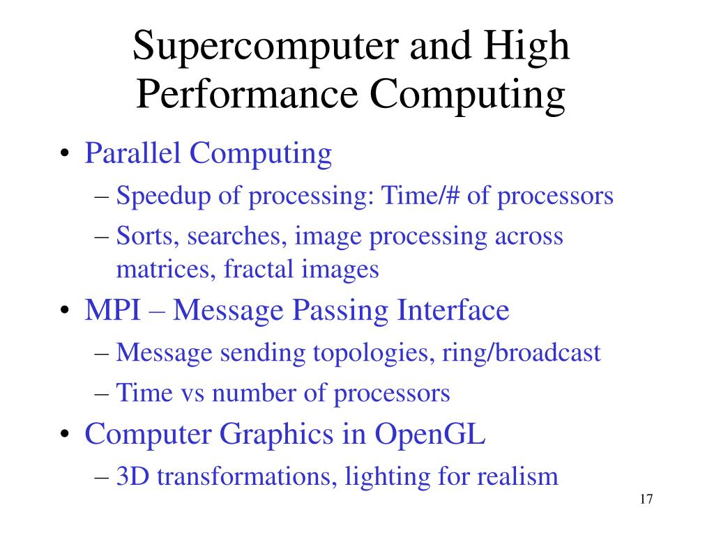 Supercomputer and High Performance Computing