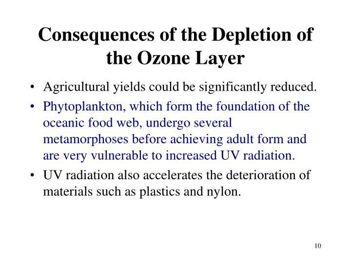 Consequences of the Depletion of the Ozone Layer