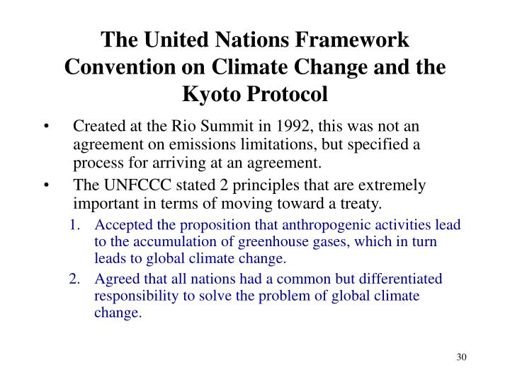 The United Nations Framework Convention on Climate Change and the Kyoto Protocol