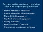 programs received consistently high ratings on all of the program quality dimensions