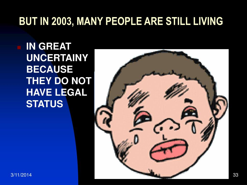 BUT IN 2003, MANY PEOPLE ARE STILL LIVING