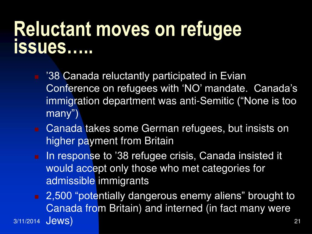 Reluctant moves on refugee issues…..