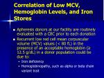 correlation of low mcv hemoglobin levels and iron stores