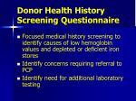donor health history screening questionnaire