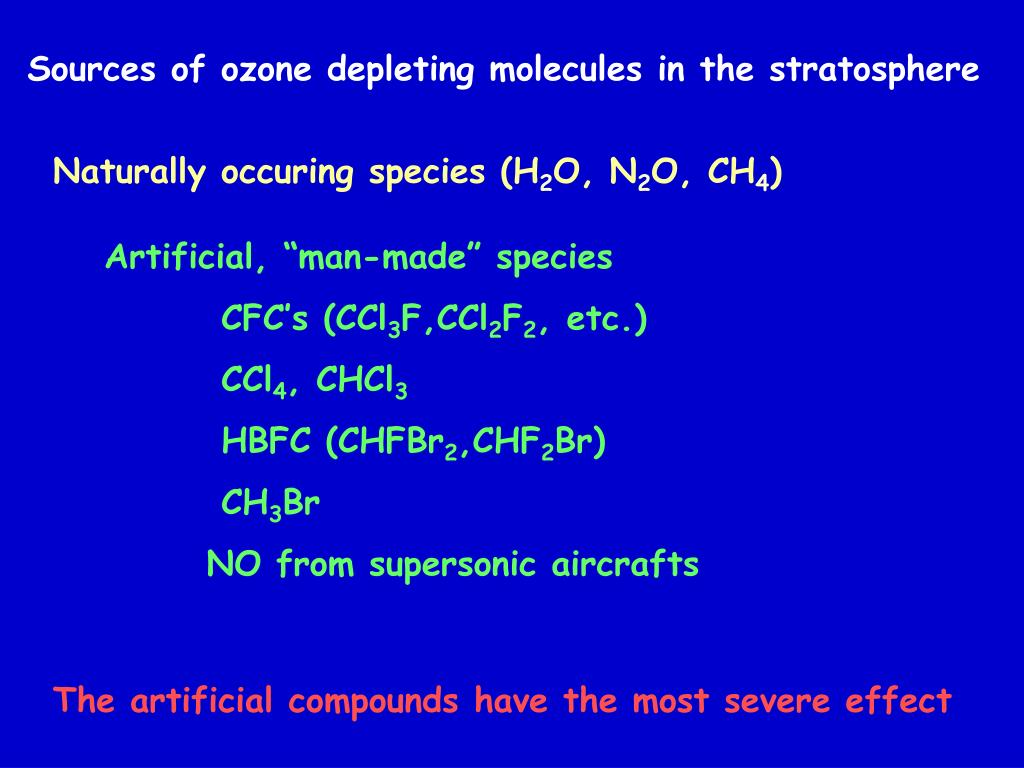 Sources of ozone depleting molecules in the stratosphere