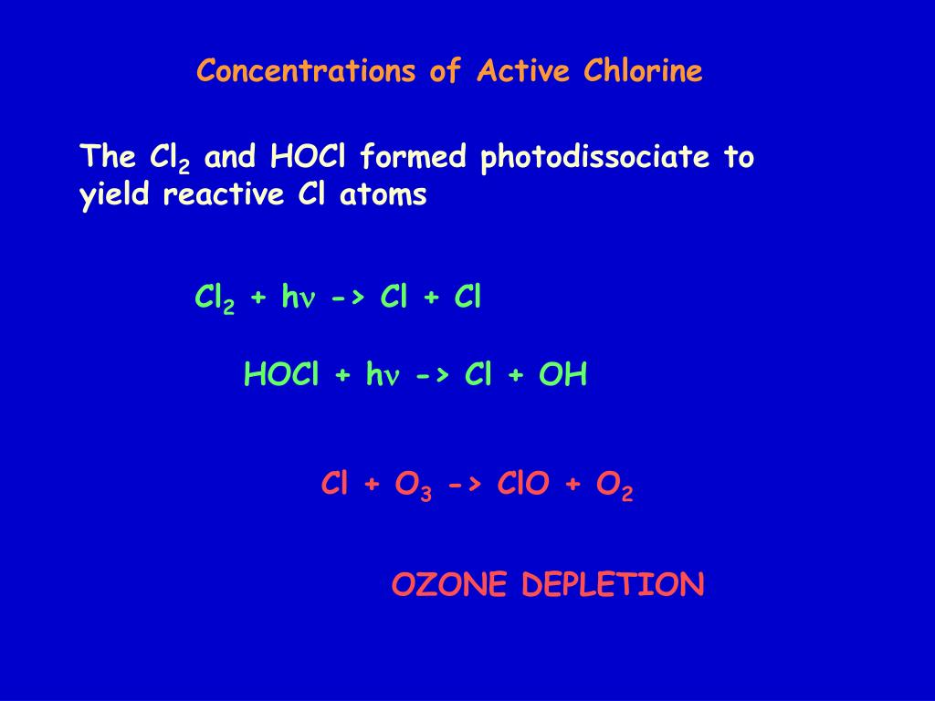 Concentrations of Active Chlorine
