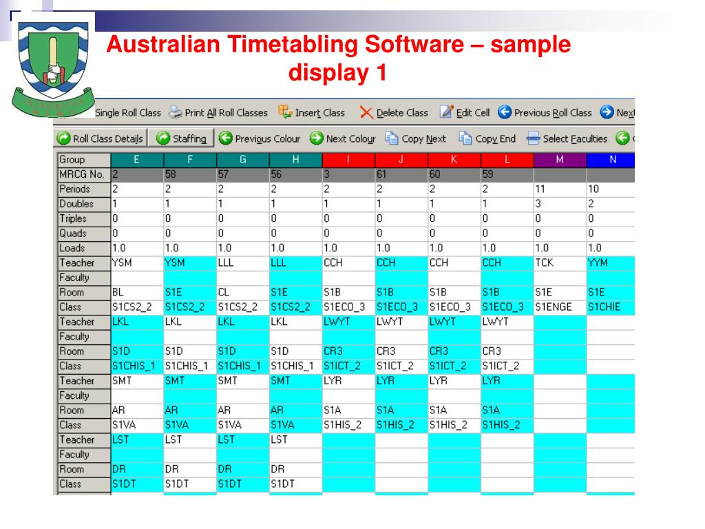 Australian Timetabling Software – sample display
