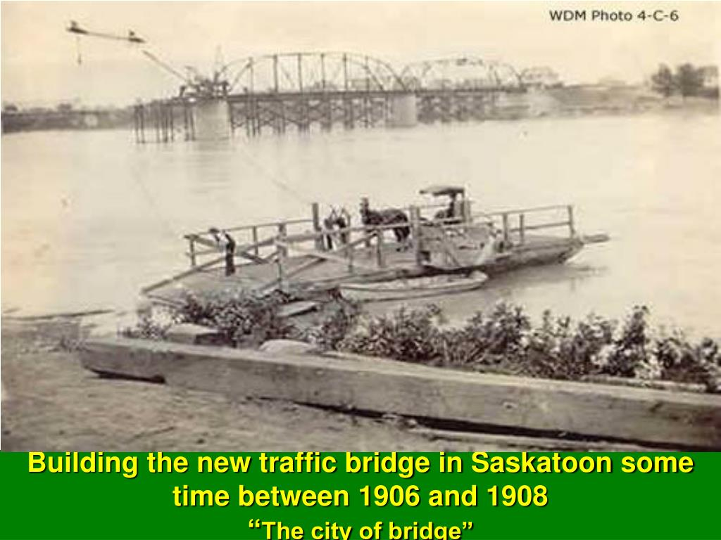 Building the new traffic bridge in Saskatoon some time between 1906 and 1908
