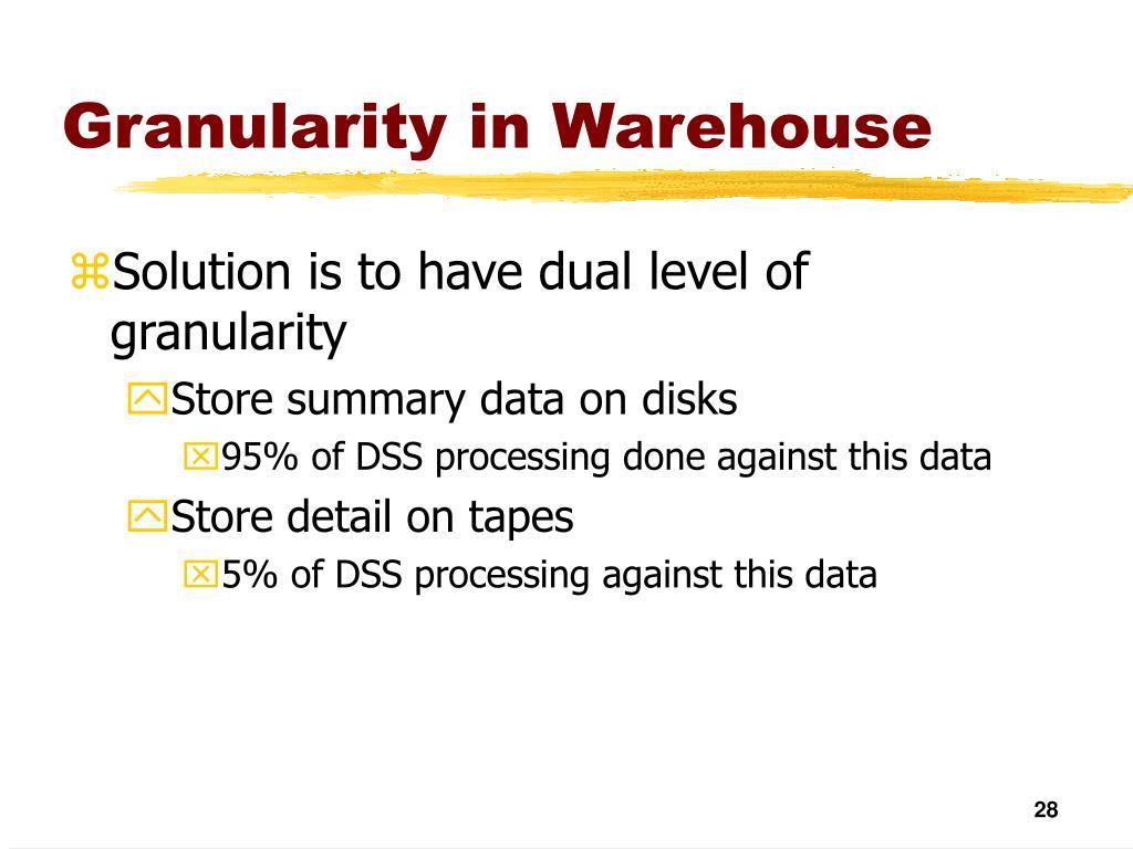 Granularity in Warehouse