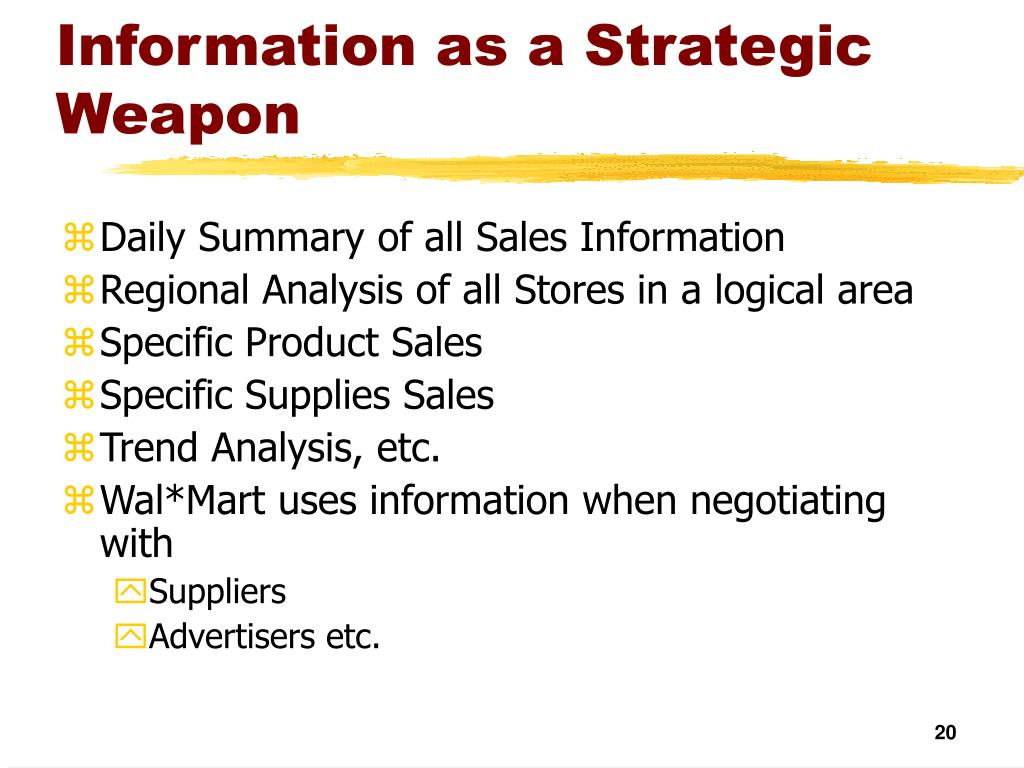 Information as a Strategic Weapon