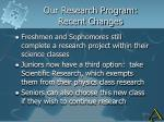 our research program recent changes
