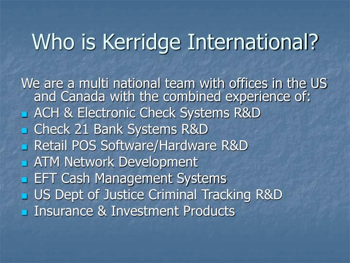 Who is Kerridge International?