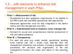 1 3 with elements to enhance risk management in each pillar