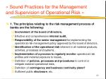 sound practices for the management and supervision of operational risk