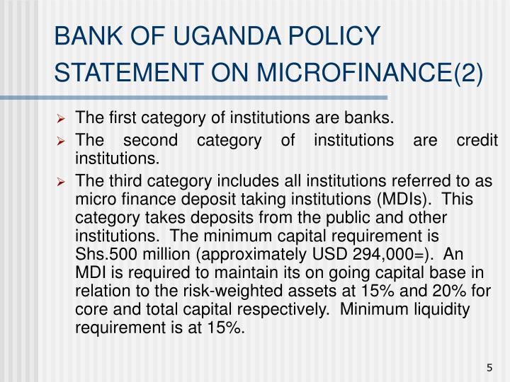 BANK OF UGANDA POLICY STATEMENT ON MICROFINANCE(2)