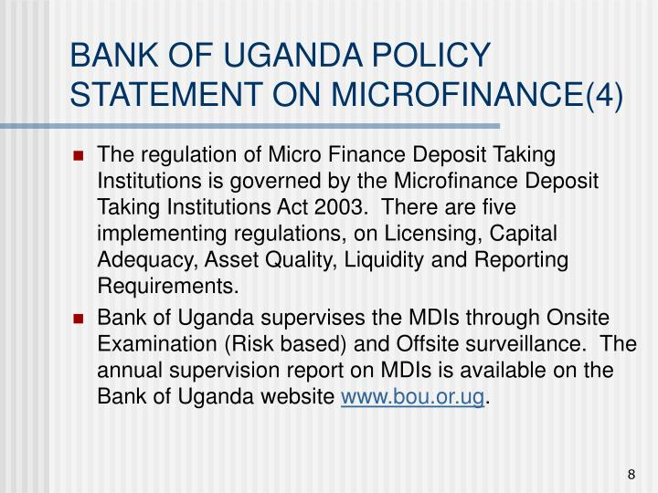 BANK OF UGANDA POLICY STATEMENT ON MICROFINANCE(4)