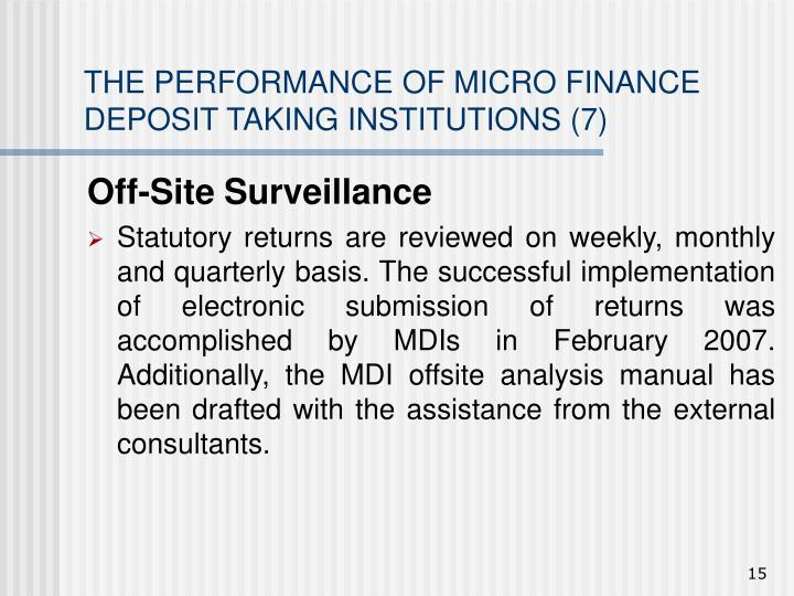 THE PERFORMANCE OF MICRO FINANCE DEPOSIT TAKING INSTITUTIONS (7)