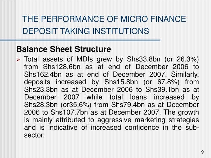 THE PERFORMANCE OF MICRO FINANCE DEPOSIT TAKING INSTITUTIONS