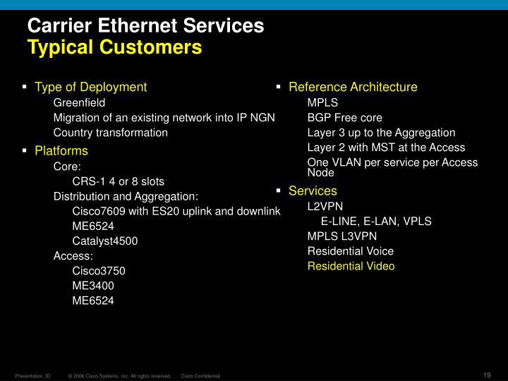 Carrier Ethernet Services