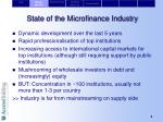 state of the microfinance industry