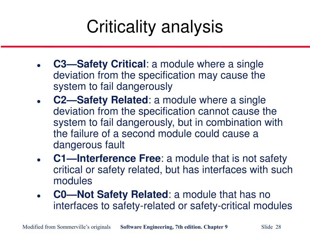 Criticality analysis