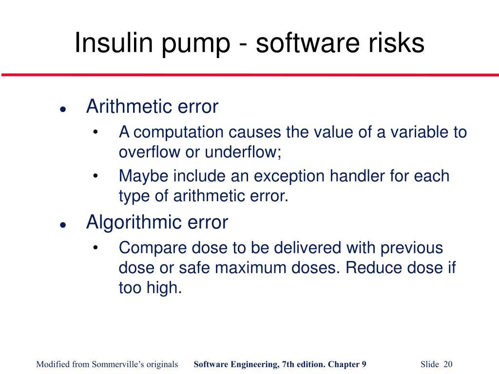 Insulin pump - software risks
