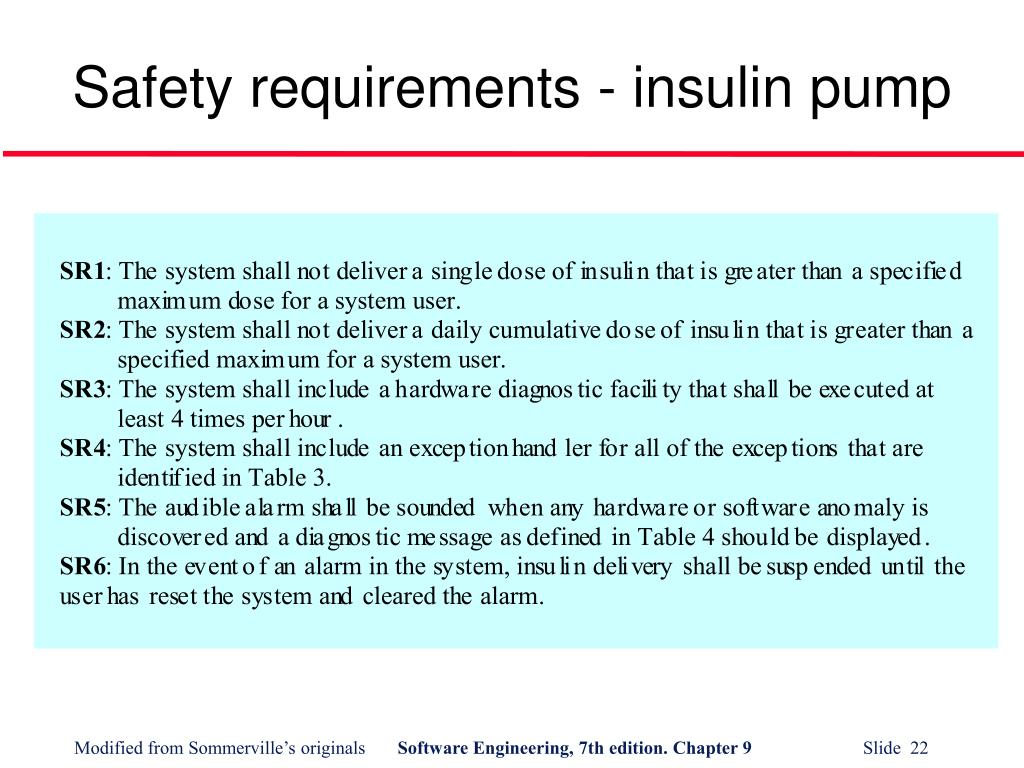 Safety requirements - insulin pump