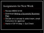 assignments for next week