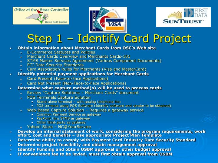 Step 1 identify card project