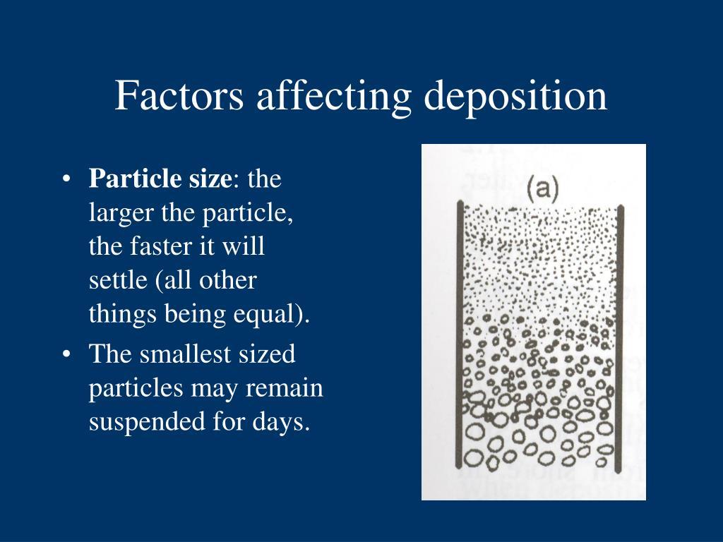 Factors affecting deposition