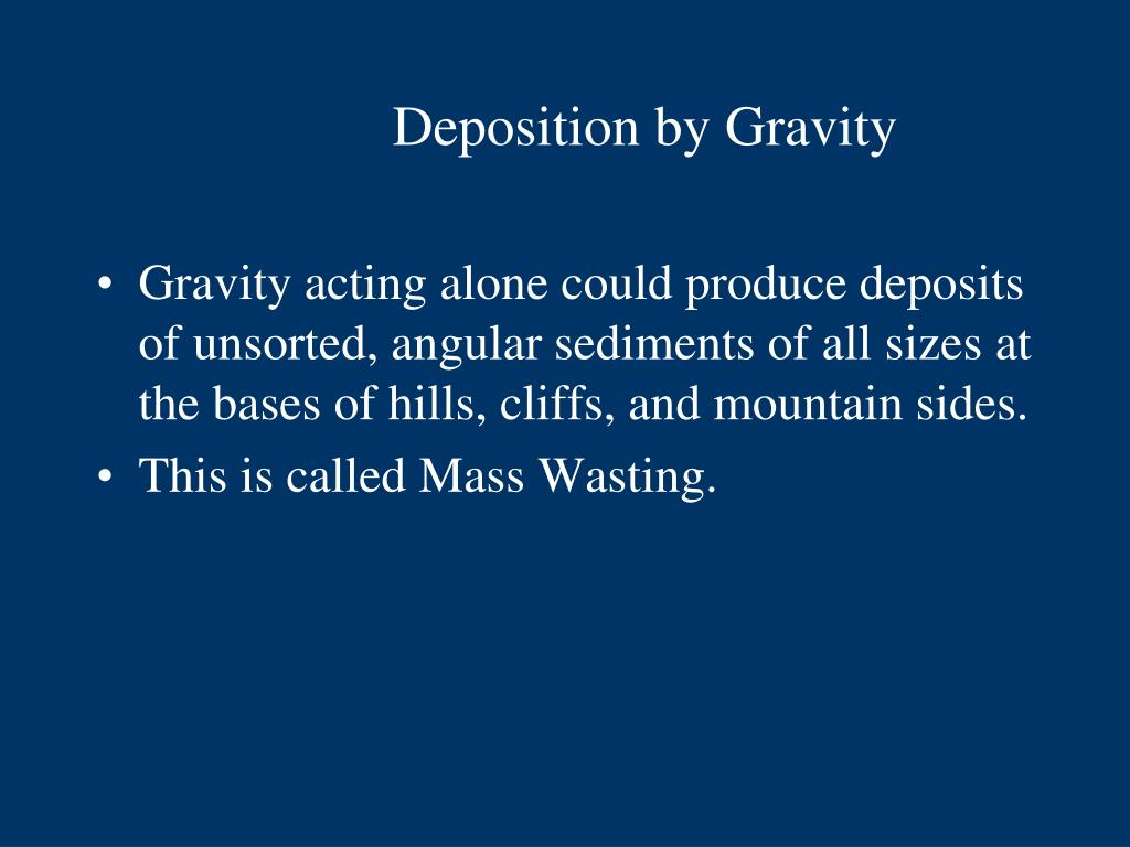 Deposition by Gravity
