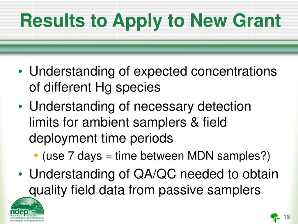 Results to Apply to New Grant