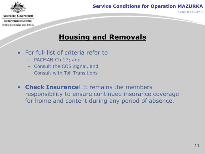 Housing and Removals