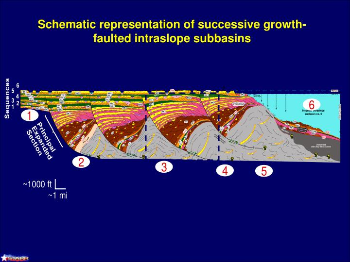 Schematic representation of successive growth-faulted intraslope subbasins