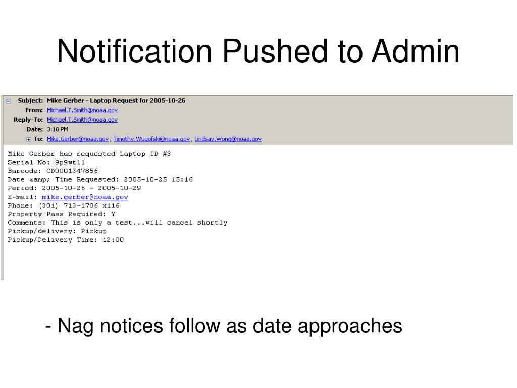 Notification Pushed to Admin