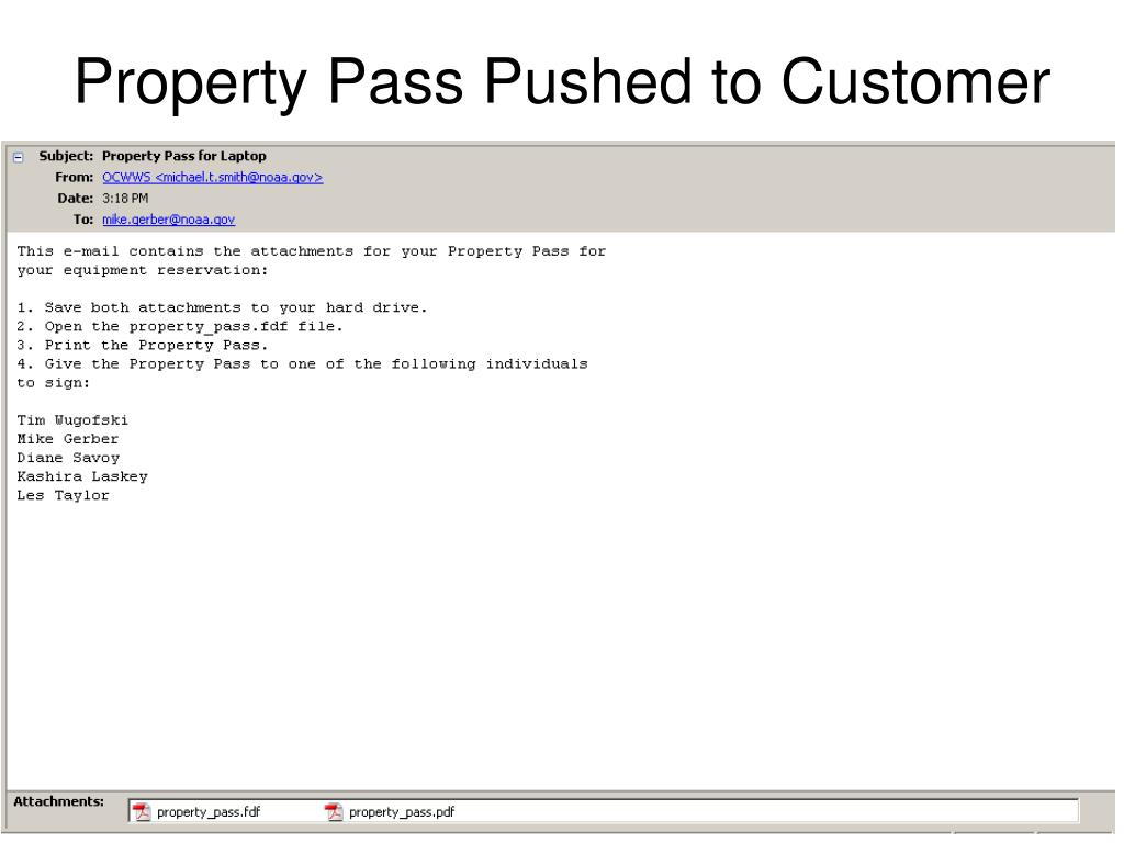 Property Pass Pushed to Customer