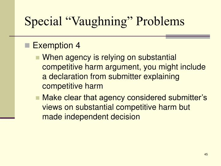 "Special ""Vaughning"" Problems"