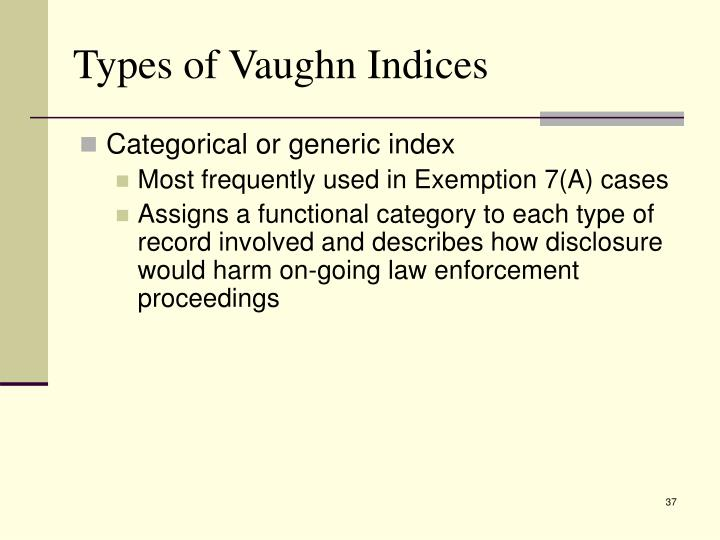 Types of Vaughn Indices