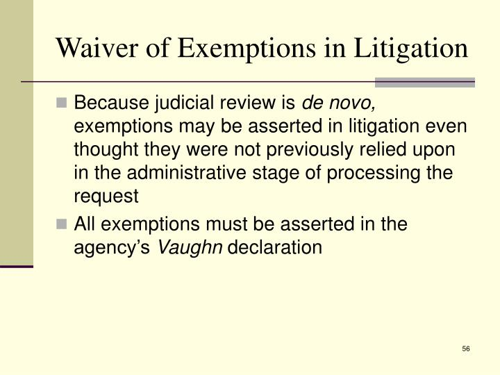 Waiver of Exemptions in Litigation