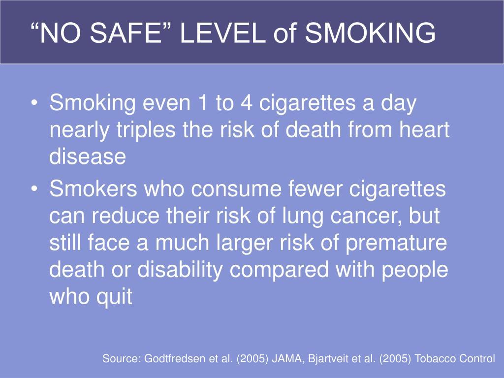 """""""NO SAFE"""" LEVEL of SMOKING"""