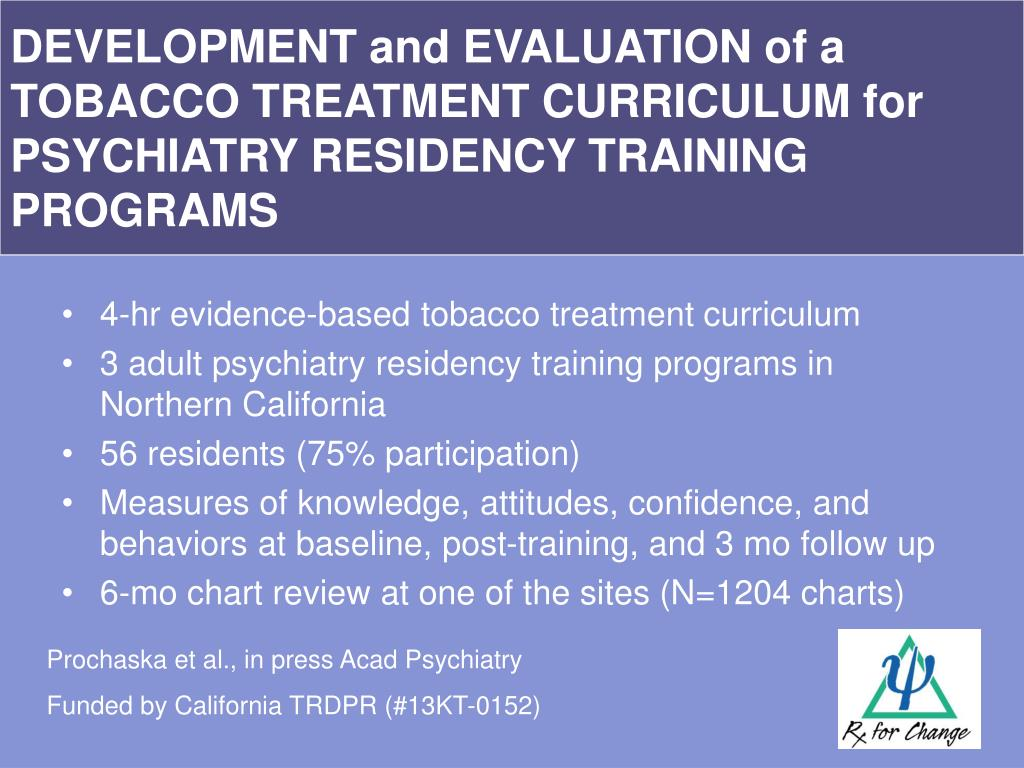 DEVELOPMENT and EVALUATION of a TOBACCO TREATMENT CURRICULUM for PSYCHIATRY RESIDENCY TRAINING PROGRAMS