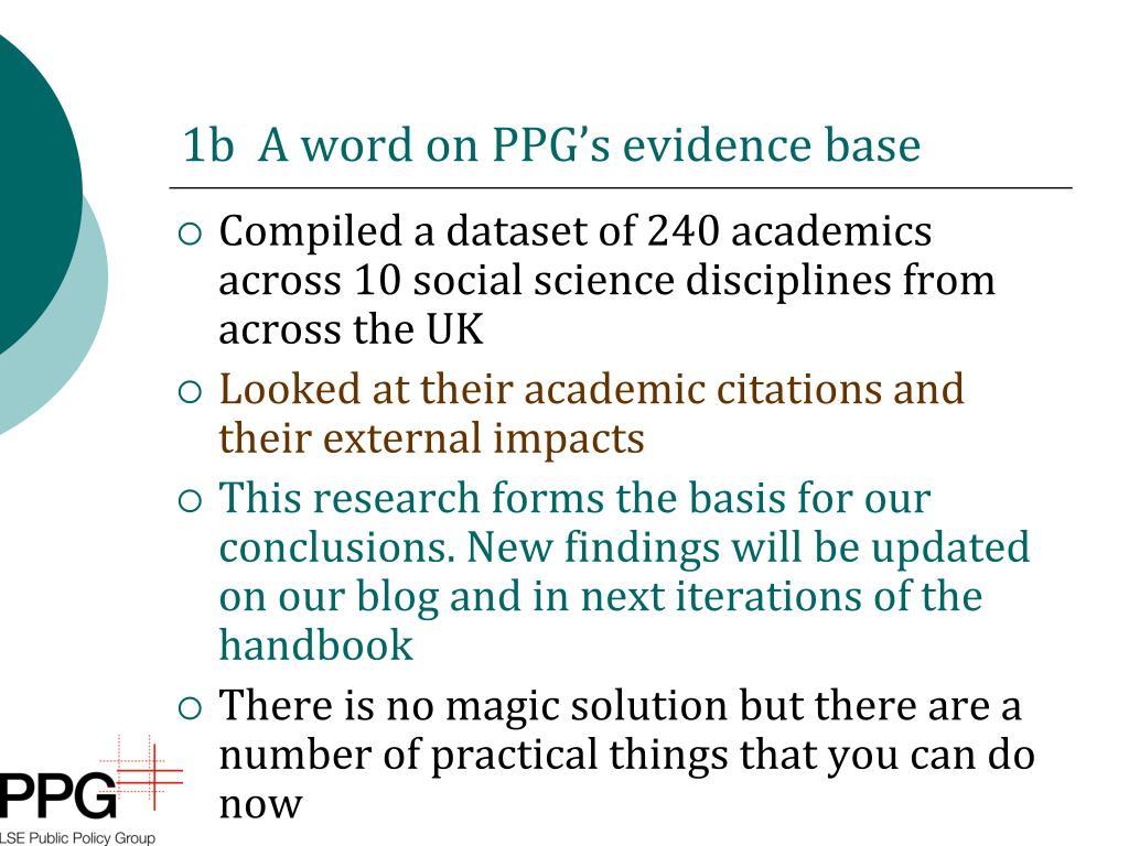 1b  A word on PPG's evidence base