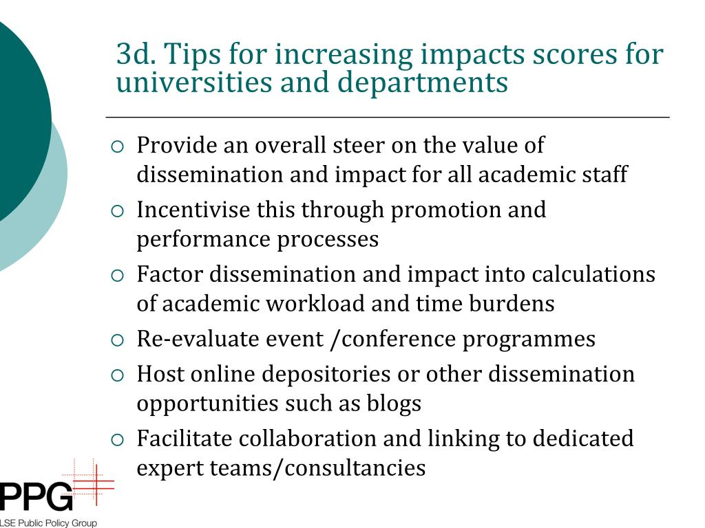 3d. Tips for increasing impacts scores for universities and departments