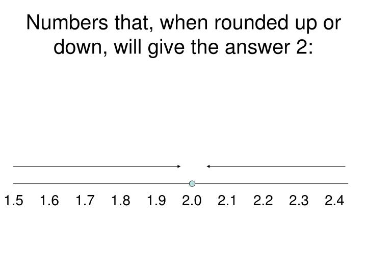 Numbers that when rounded up or down will give the answer 23