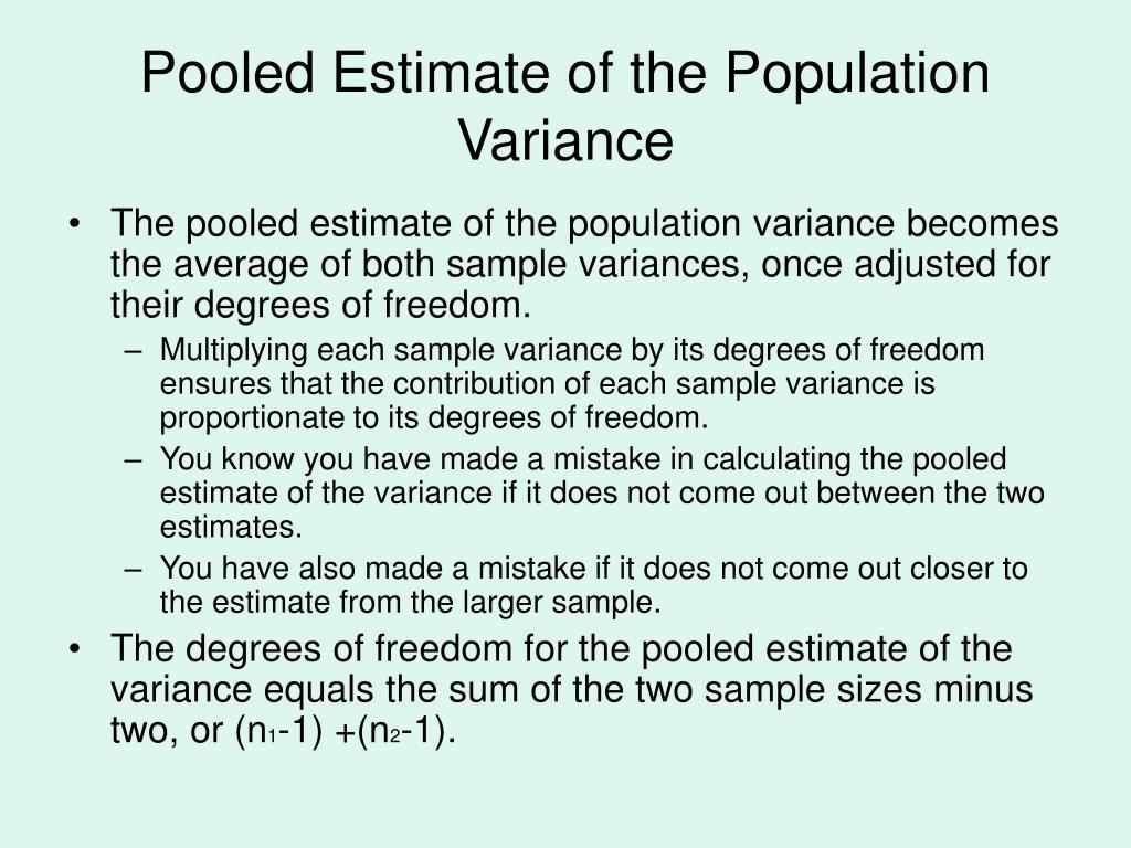 Pooled Estimate of the Population Variance