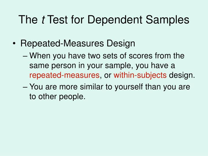 The t test for dependent samples