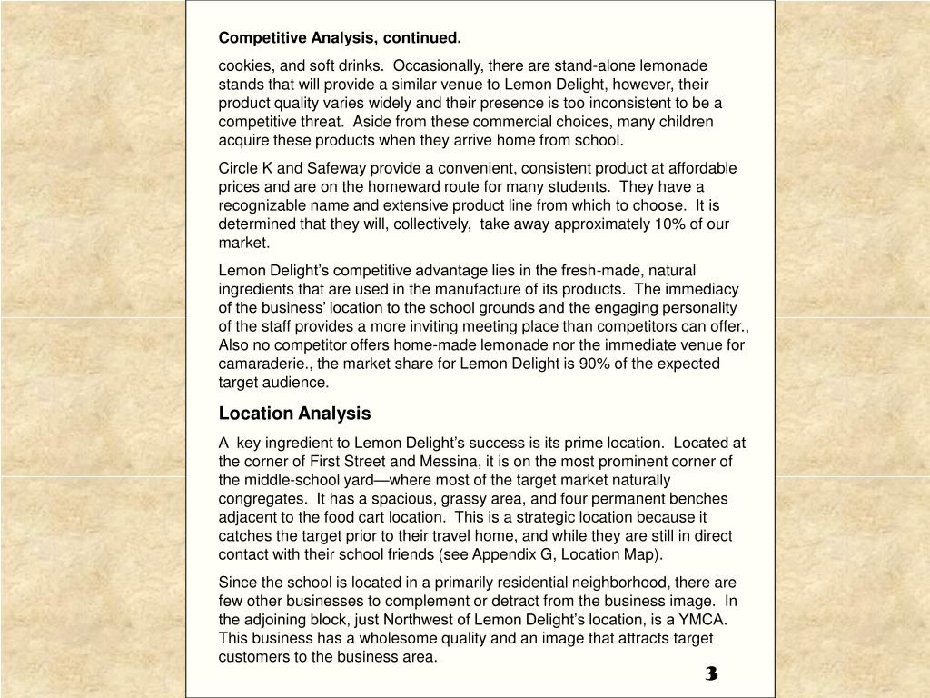Competitive Analysis, continued.
